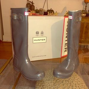 Hunter Classic Tall Grey Gloss Boots